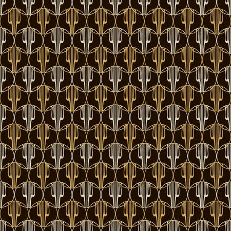 lira: Seamless pattern Lira. Golden and black background.