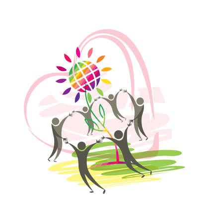 Symbolic illustration of good people, heart, flower and planet. Illustration