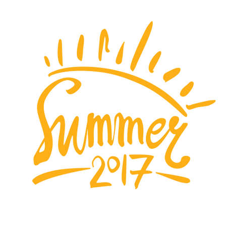 caligraphy: Summer 2017. Sun inscription symbol. lettering template.