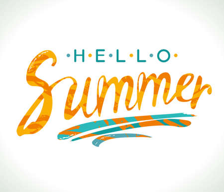 Hello Summer. Hand drawn lettering for card, poster, invitation, t-shirt and more. Vector calligraphy design.