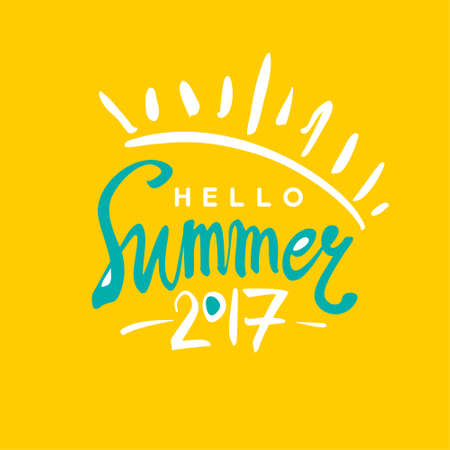 caligraphy: Bright card Hello Summer 2017.
