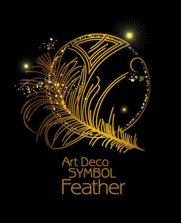 Feather Vintage design element. Art Deco stylized poster. Vector illustration for glamor party, thematic design and other.