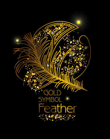 Gold Symbol Feather. Art Deco stylized poster. Vector illustration for glamor party, thematic design and other. Illustration