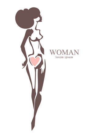 Woman. Flat vector template. Idea of ??the logo for a woman Health, beauty salon and another. Illustration