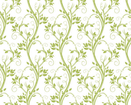 Seamless curly floral pattern. Stems and leaves of ornamental grasses. Illustration
