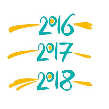 Vector template handwritten figures in 2016, 2017, 2018.