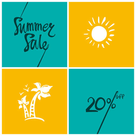 Summer Sale.20%. Bright turquoise and yellow squares information poster.