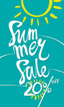 Summer Sale 20%. Turquoise vertical poster with the inscription and the sun. 向量圖像