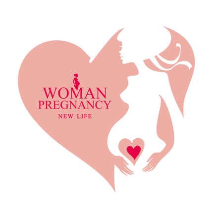 Pregnant woman flat icon vector heart.