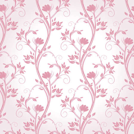 Stems, flowers and leaves pink seamless pattern.