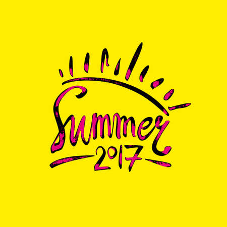 caligraphy: Summer 2017. Sun inscription shabby symbol. Vector lettering template. Illustration