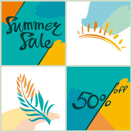 Summer Sale. 50%. Bright squares information poster. Vector template for advertising design.