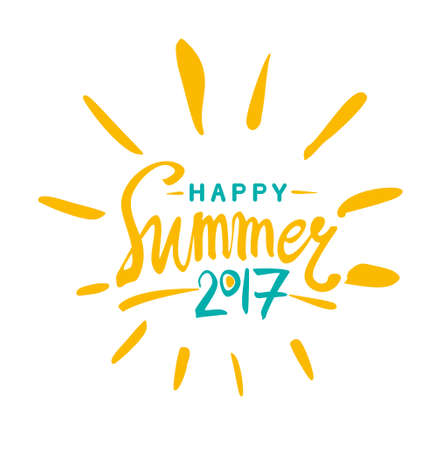 caligraphy: Vector lettering template Happy Summer 2017 and rays of the sun. Illustration