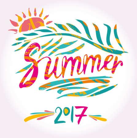garabatos: 2017 Summer and sun. Hand drawn inscription and palm leaf. Vector design.