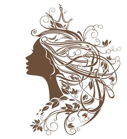 Princess Hairstyle. Girl with leafy hair vector silhouette illustration. Illustration