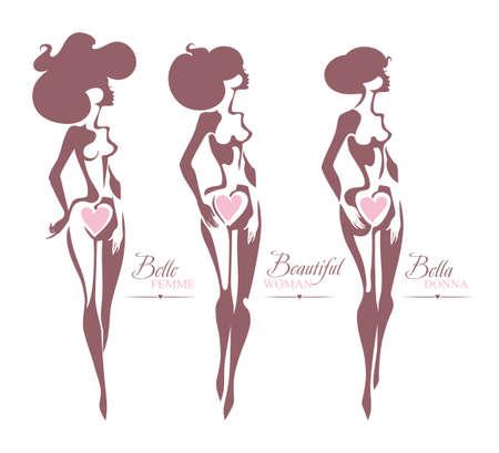 ベルのファム。美しい女性。ベラドナ。3 個の美しい女性像のシルエットをベクトルします。女性らしさ、美しさと健康のシンボルです。  イラスト・ベクター素材