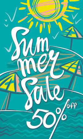 Summer Sale 50% discount. Seasonal poster with sun, sea and beach. Vector illustration.