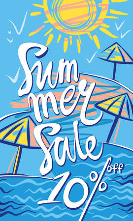 Summer Sale ten percent discount. Seasonal poster with sun, sea and beach. Vector illustration. 向量圖像