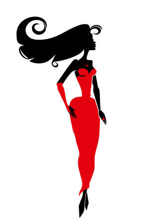 women s clothes: Beautiful woman in a red dress with long black hair. Femme fatale silhouette vector illustration.