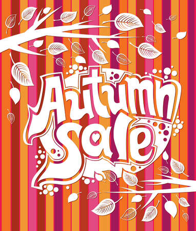 Autumn sale picture with a striped background.