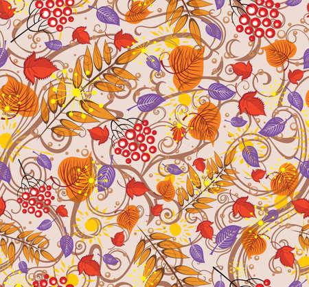 秋のカラフルなパターン秋の葉。  イラスト・ベクター素材