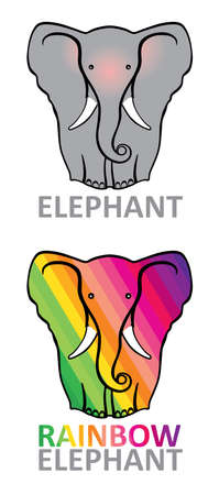 象。虹象。2 頭のゾウ。