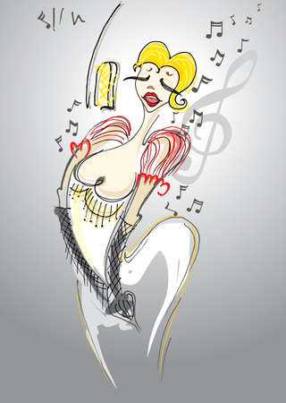 Jazz diva. Funny illustration with attractive singer.
