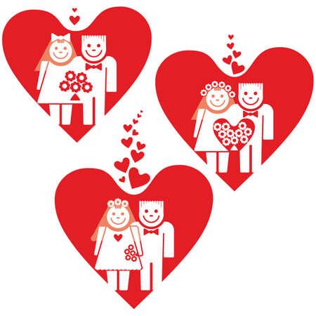 Three weddings. Three pairs of newlyweds on background of big red hearts.