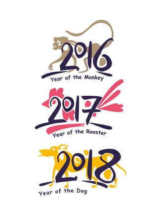 Symbols of the years on the Chinese calendar.
