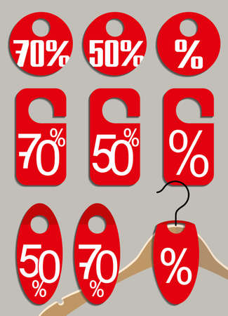 Badges for sale. Red paper forms with a percentage of discounts to stimulate purchases of shopping. 向量圖像