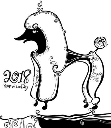 Poodle. Year of the dog. 2018. Illustration of a funny curly-haired dog. Black and white hand drawn curls graphic art. Illustration