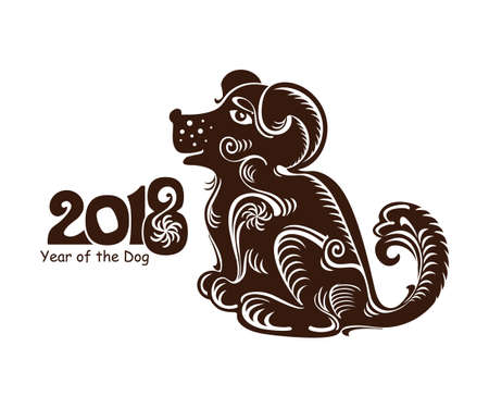 chinese astrology: Earth Dog. Symbol of 2018 on the Chinese calendar. Decorative vector template.
