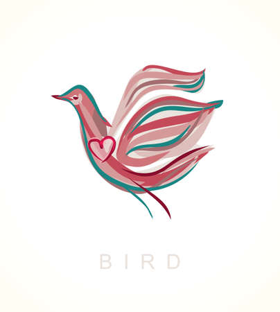 Painted bird. Vector pigeon with heart.