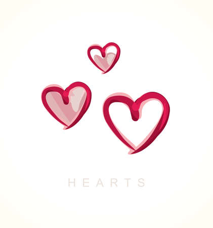 reiteration: Painted hearts. Vector icon love symbol.