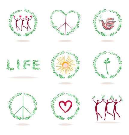 Set van vector iconen. Conceptenbeelden van het leven, aard, vrede, liefde, gezondheid. Stock Illustratie