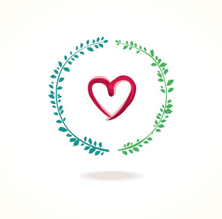combination: Vector icon of a combination of heart and circle green foliage. Illustration
