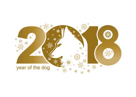 chinese astrology: Year of the Dog 2018. Vector template New Years design on the Chinese calendar.