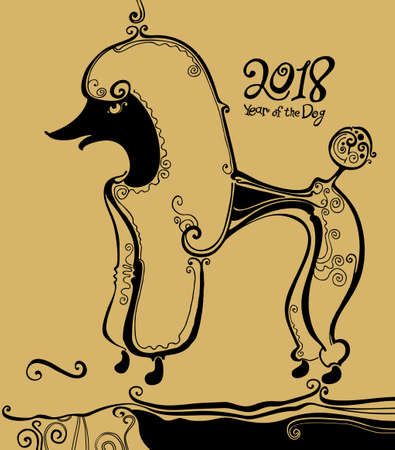 Poodle. Black tracery graphics on a golden background. Year of the dog. 2018. Illustration of a funny curly-haired dog. Illustration