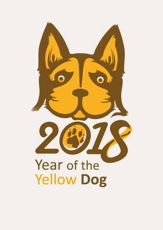 shaggy: Stylish poster of 2018 Yellow Dog. Year of the Dog on the Chinese calendar.