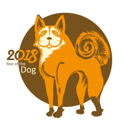 Dog. Round vector template. Symbol of 2018. Year of the Dog on the Chinese calendar. Illustration