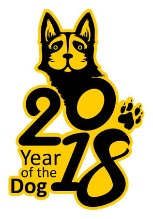 Sticker 2018 Year of the Dog. Symbol on the Chinese calendar. Vector template of figures and portrait of a dog laconic image in black and yellow color.