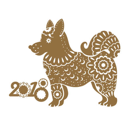 Year of The Dog. 2018 year. Vector template with a stylized dog with ornament. Chinese New Year. Illustration
