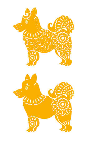 黄色い犬の年。テンプレート飾りとの 2 つの様式化された犬をベクトルします。中国の旧正月。