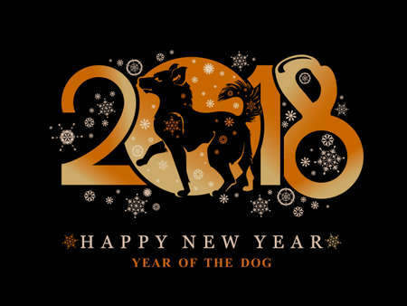 Year of the Dog 2018 on the Chinese calendar. Greeting card with new year`s design walking dog and snowflakes on a black background.