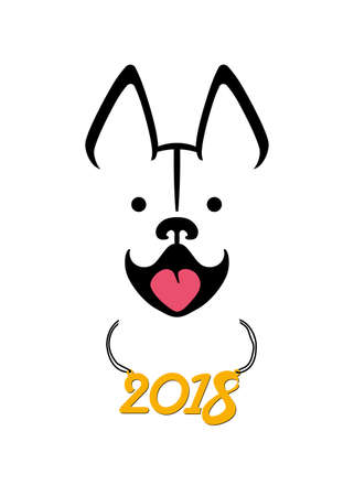 Snow Dog smiles. Vector template for the new 2018 year. Illustration