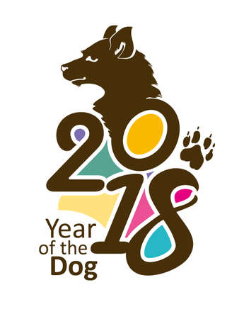 Bright template 2018. Year of the Dog on the Chinese calendar. Vector illustration of figures and portrait of a dog.