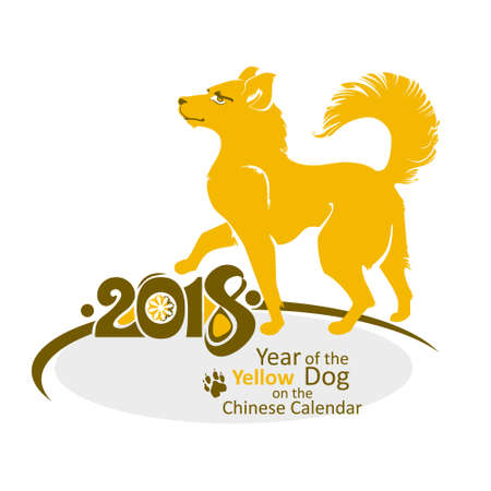 Yellow Dog Comes 2018 year. Vector template New Years design on the Chinese calendar. Year of the Dog.