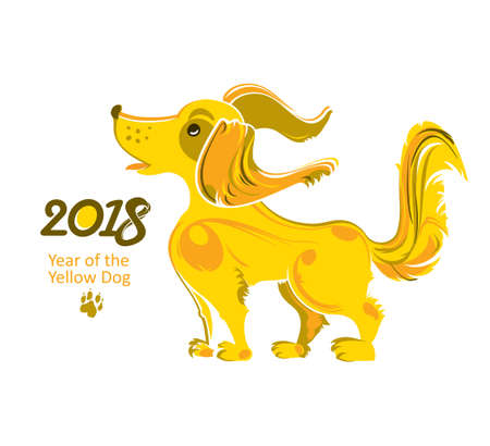Cute Yellow Dog 2018. Cartoon character vector illustration for the New Years design. Dog - symbol of 2018 on the Chinese calendar.