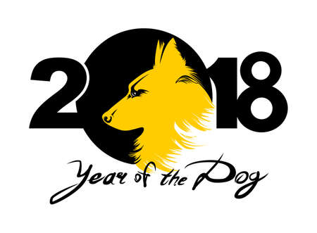 Year of the Yellow Dog 2018. Vector template New Years design on the Chinese calendar. Illustration