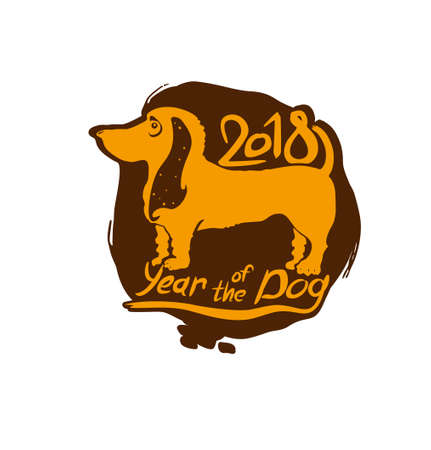 Year of the Yellow Dog 2018. Stamp for New Years design. Vector template. New Year on the Chinese calendar.